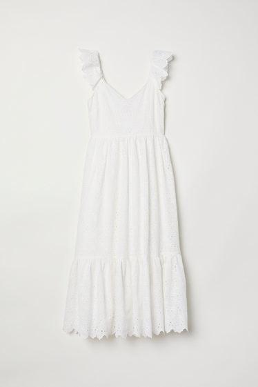 vesrtido blanco bordado h&M