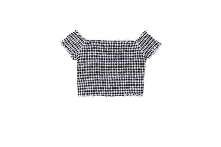 Tendencia de cuadros vichy en crop top de H&M