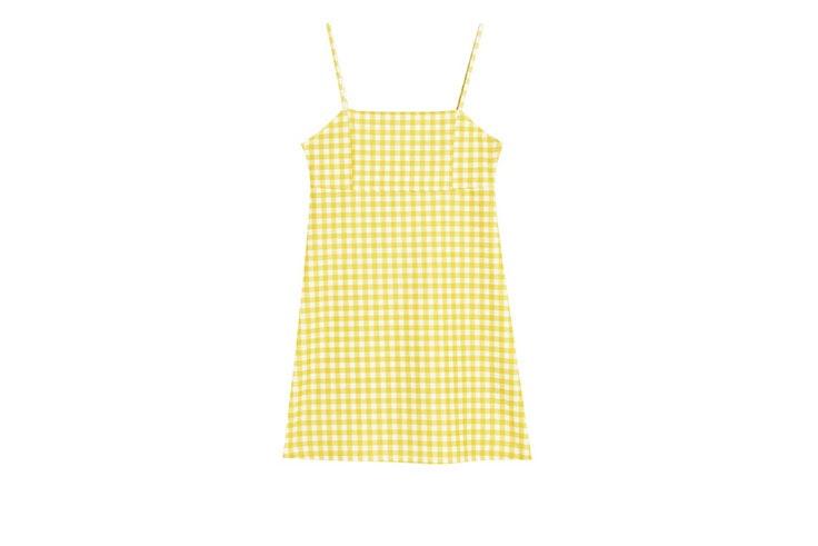 Favoritos de rebajas vestido de cuadros amarillo de Pull and Bear