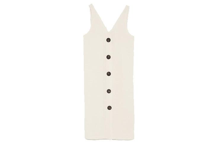 Favoritos de rebajas vestido de botoones de Zara en color beige