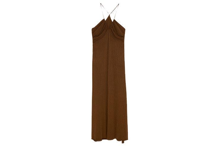 Vestidos largos de Zara- Vestido marrón