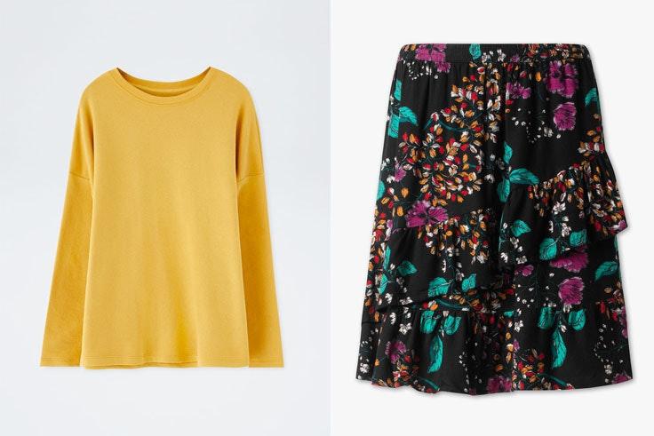 collage-vintage-sudadera-amarilla-falda-flores-look-deportivo