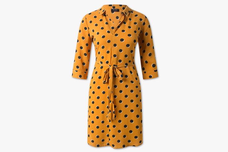 vestido-mostaza-estampado-lunares-cya