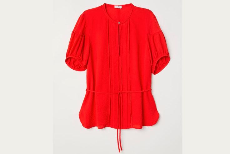 camisa-roja-manga-abullonada-hm