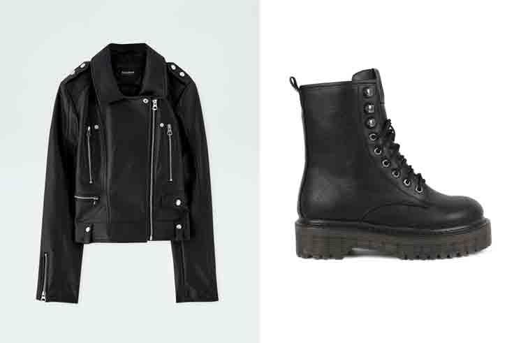cuadros-escoceses-paula-arguelles-conjunto-cazadora-cuero-negra-botas-negras