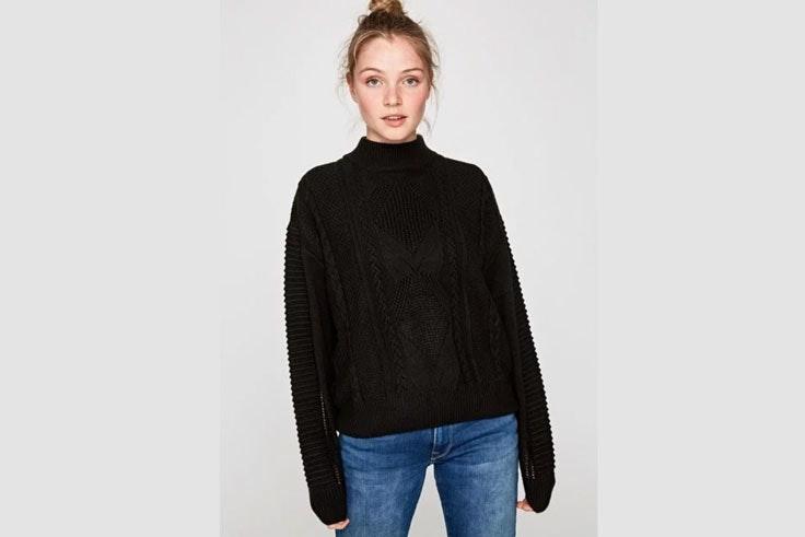 black-friday-jersey-de-punto-negro-cuello-pepe-jeans