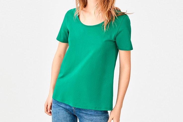 Camiseta verde de Cortefiel