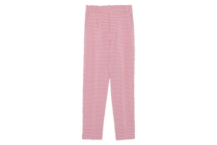 Traje-rosa-de-cuadros-vichy-de-Zara-pantalón