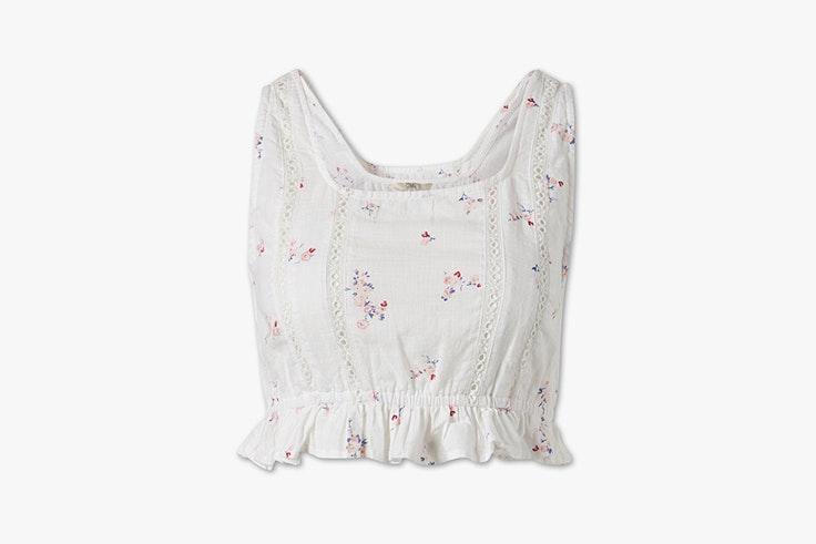 blusa blanca flores c&a