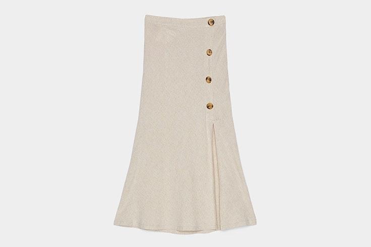 falda-beige-lino-botones-bershka