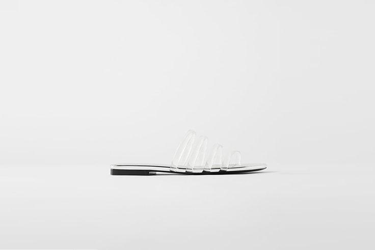 sandalia transparente tiras tubulares zara