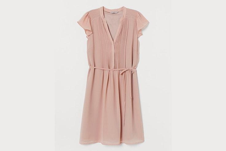 vestido rosa volantes hm