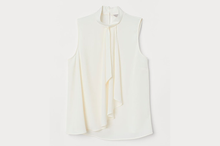 blusa blanca cruzada hm