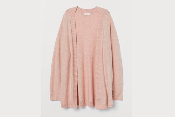 chaqueta de punto rosa cardigan hm