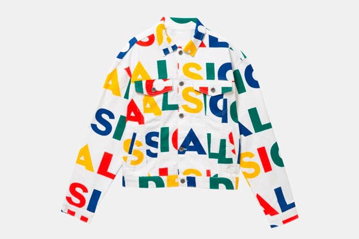 chaqueta de entretiempo letras de colores desigual