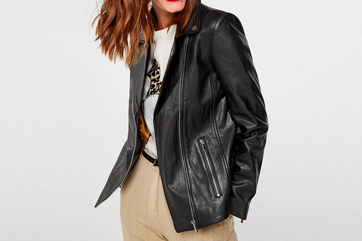 chaqueta entretiempo cuero negro cortefiel