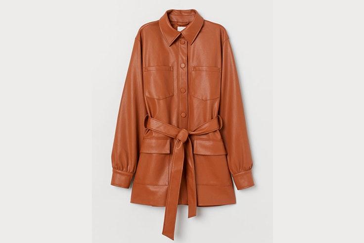 chaqueta marron cuero hm