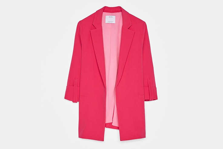 chaqueta rosa fucsia bershka