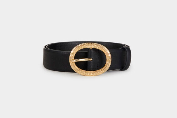 cinturon negro hebilla dorada parfois