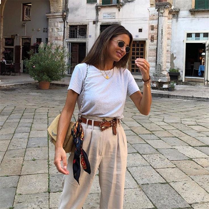 color beige pantalon lino maria valdes
