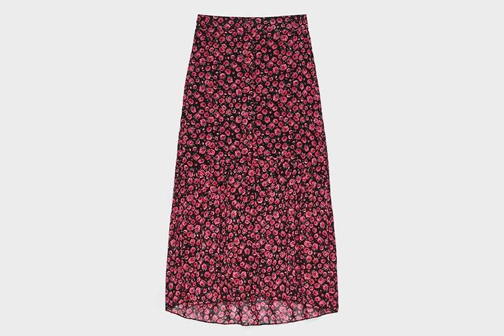 faldas midi estampado flores rosa colección otoño 2019 bershka