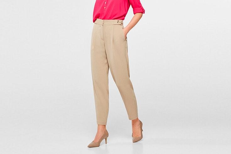 pantalon largo tendencia color beige cortefiel