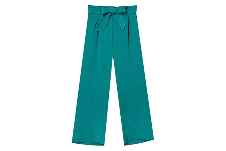 pantalon verde oscuro lazo stradivarius