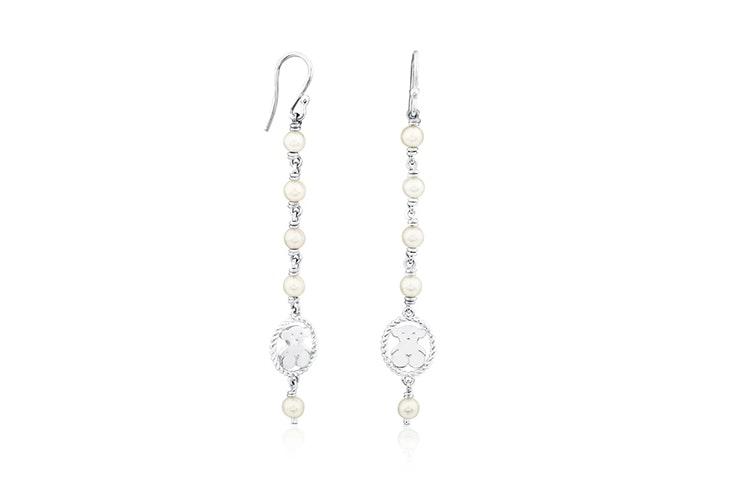 pendientes largos plata perlas tous
