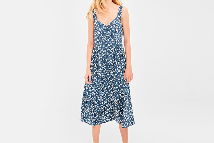 vestido estampado flores azul springfield