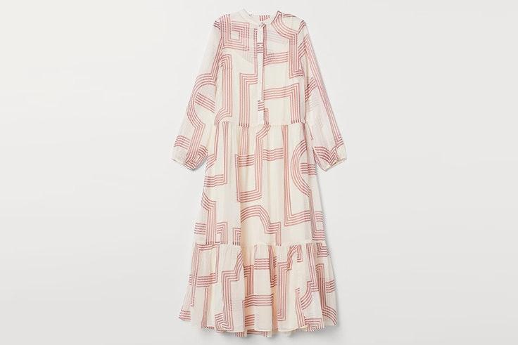 vestido blanco estampado largo de hm