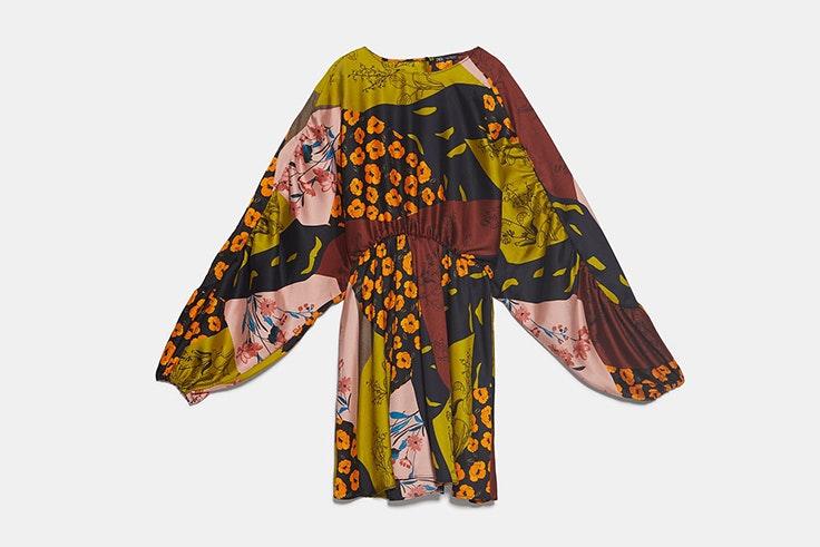 vestido estampado patchwork zara