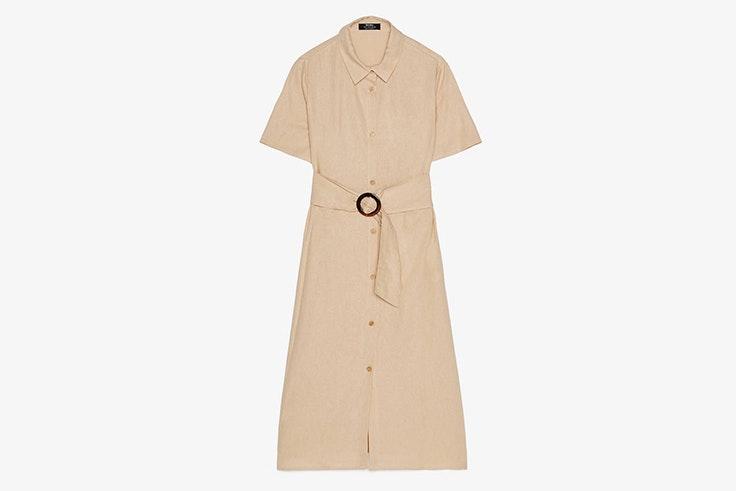 vestido largo camisero color beige bershka