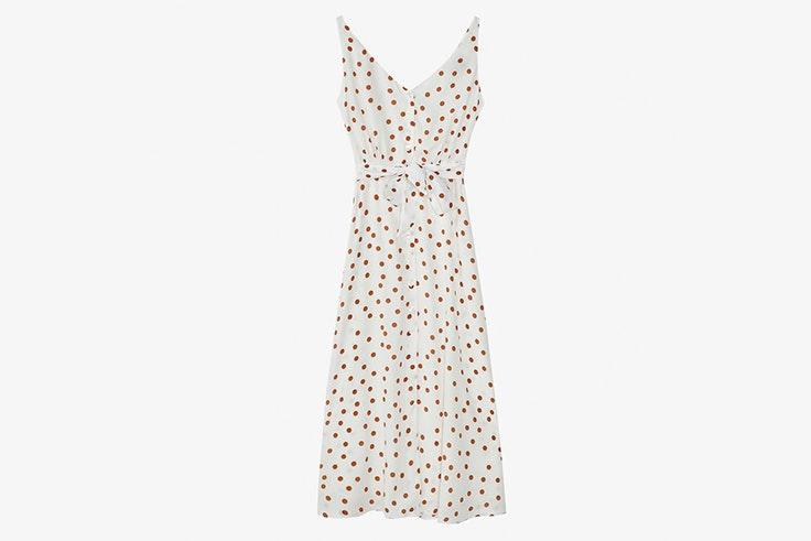 vestido lunares blanco massimo dutti