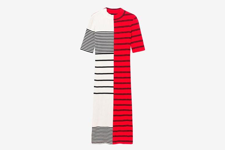 vestido rayas blanco rojo desigual