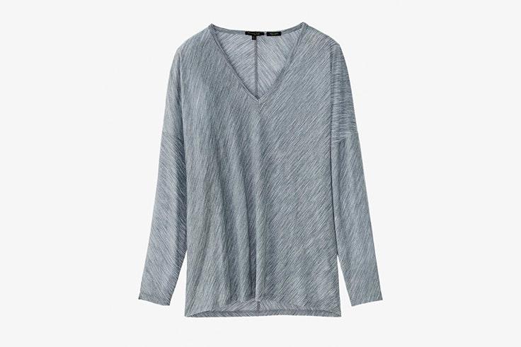 camiseta gris pico massimo dutti