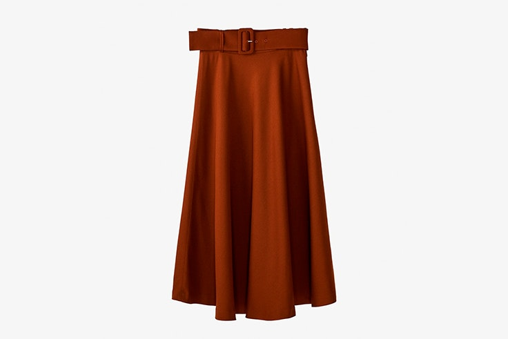 falda larga midi cinturón color marrón massimo dutti