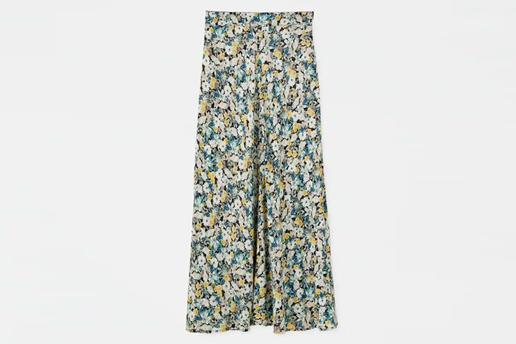 falda midi estampada flores pull and bear