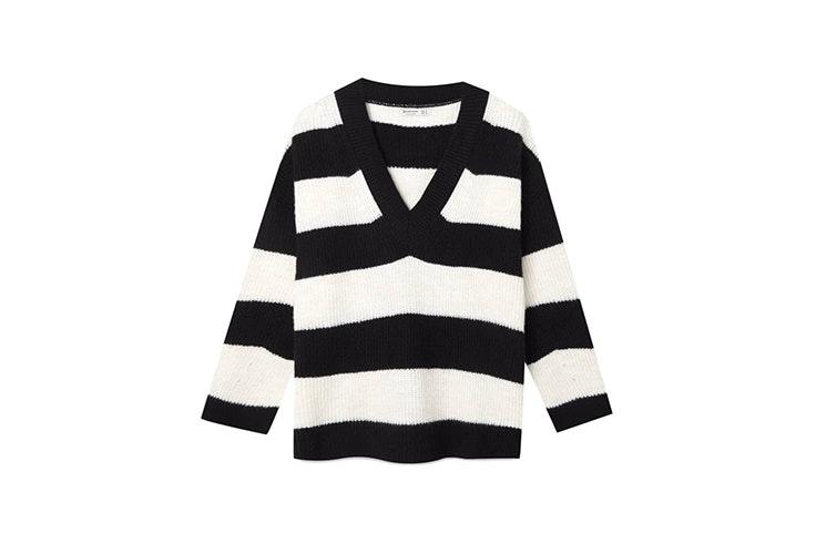 jersey blanco y negro rayas stradivarius