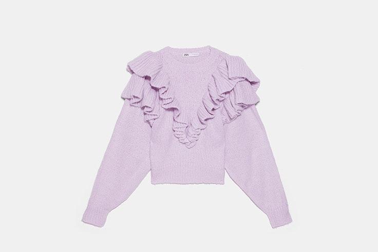 jersey volantes lila zara