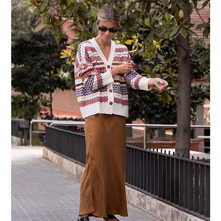 patricia sañes falda color marrón estilo instagram