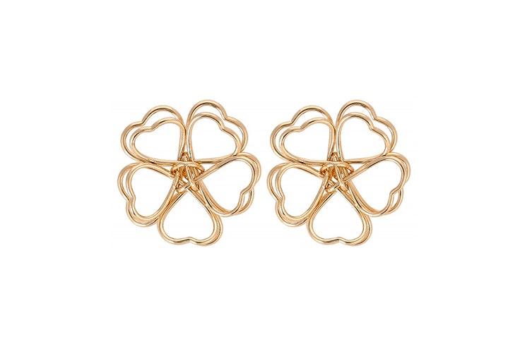 pendientes dorados en forma de trébol de bijou brigitte