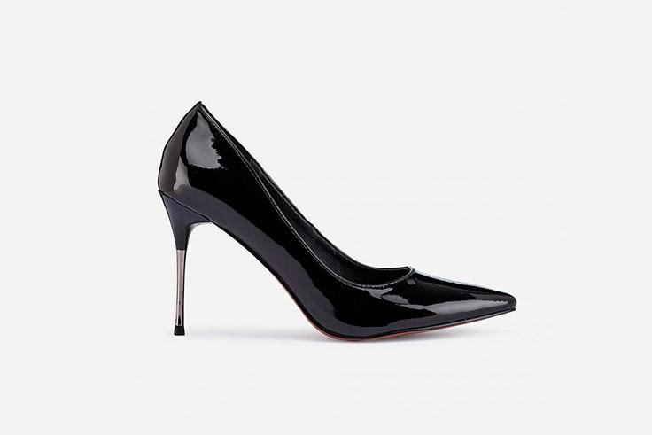 zapato salón tacón negro charol marypaz