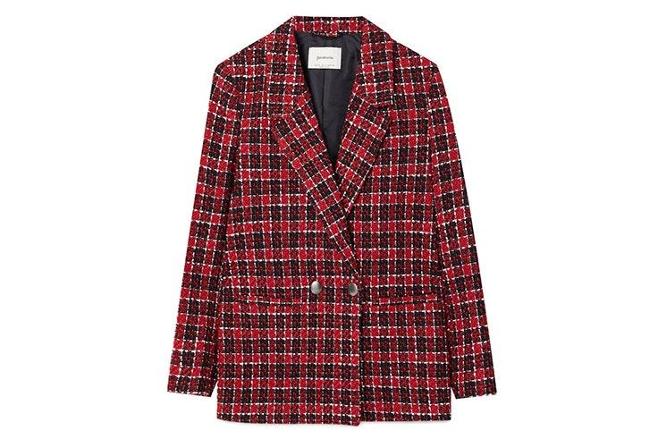 chaqueta tweed cuadros rojos stradivarius