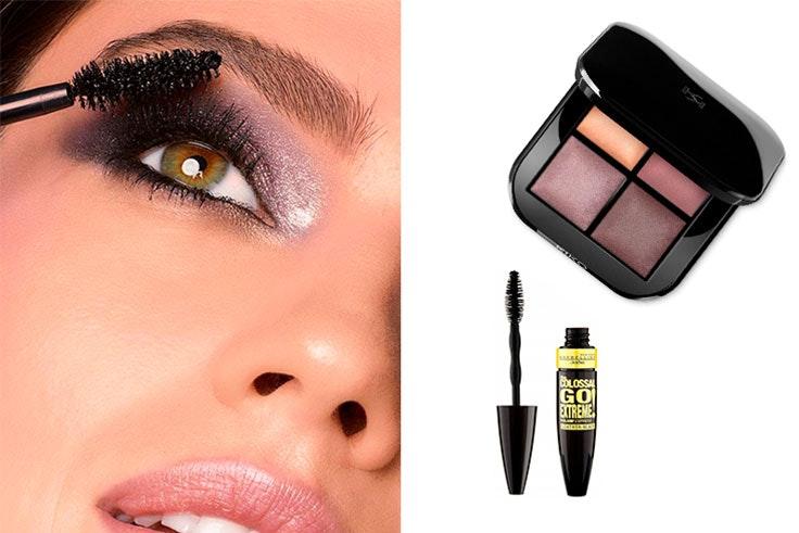 Bright Quartet Baked Eyeshadow Palette de Kiko Milano (12,99€) y Colossal Go Extreme Máscara de Pestañas de Maybelline en Primor (8,99€)
