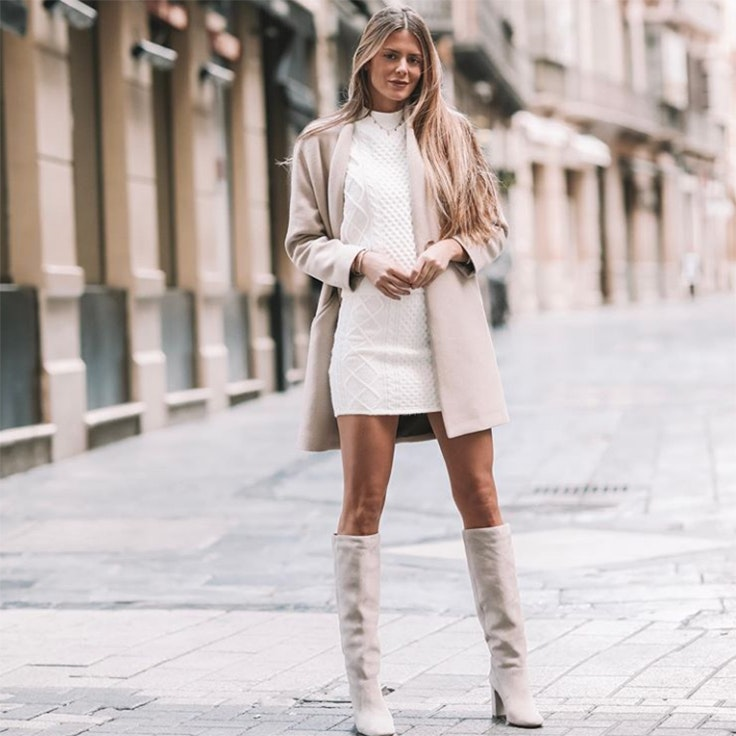natalia coll vestidos de invierno punto blanco corto