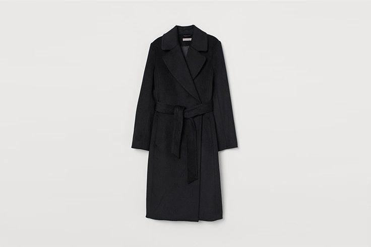 abrigo negro en mezcla de lana de hym abrigos de invierno