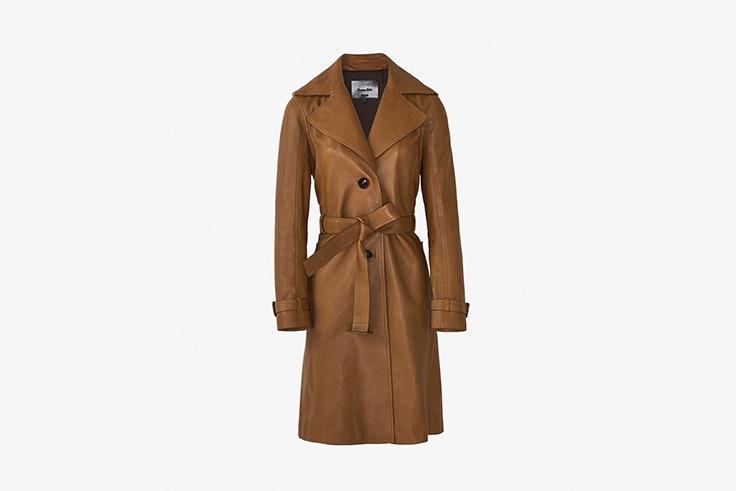 chaqueta trench de piel con cinturon de massimo dutti abrigos de invierno