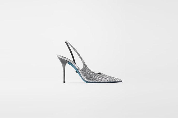 zapato de tacon destalonado con brillos de zara accesorios de fiesta
