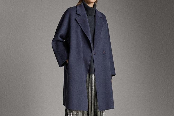Abrigo handmade de lana color azul de massimo dutti Olga Sicilia