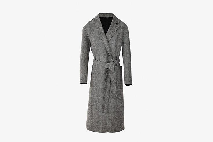 abrigo handmade reversible de espiga gris de Massimo dutti rebajas 2020